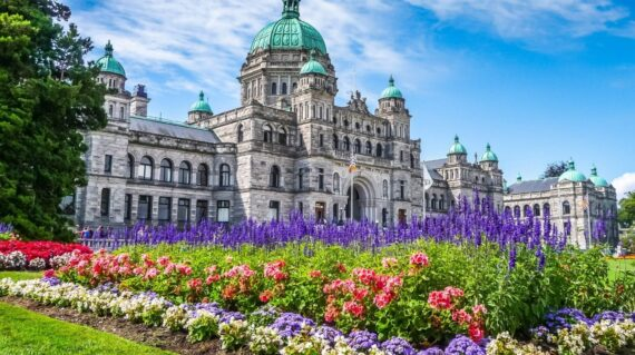 Beautiful view of historic parliament building in the citycenter of Victoria with colorful flowers on a sunny day