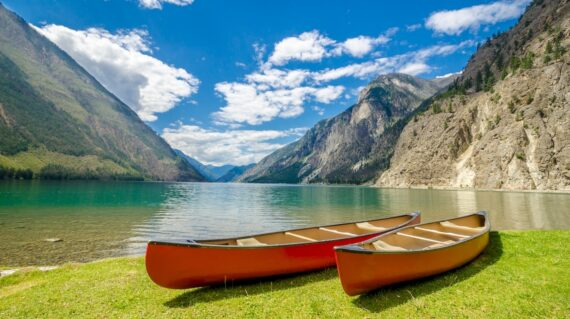 Canoes at Seton Lake in Lillooet
