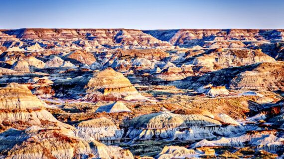 Dinosaur Provincial Park landscape noted for the beauty of its badlands landscape and as a major fossil site