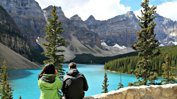 Hikers at Moraine Lake, Banff National Park