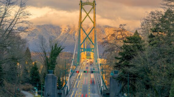 Lions Gate Bridge in sunset, Vancouver