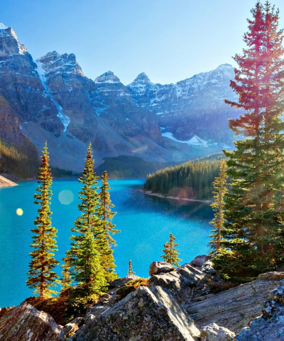 Moraine Lake is a glacially-fed lake in Banff National Park 14 km outside of Lake Louise. It is situated in the Valley of the Ten Peaks