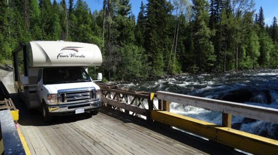 Motorhome on bridge in Canadian Rockies