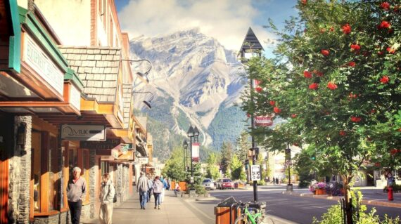 Tourist are shopping in Banff town, one of Canada's most popular destinations