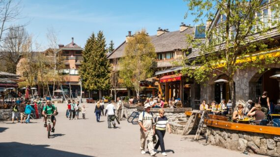 Tourists and visitors in Whistler, a very popular destination for skiing in the winter and mountain biking during summer