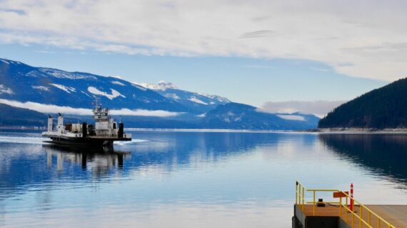 Upper Arrow Lakes ferry between Shelter Bay and Galena Bay. In the background the Selkirk and Monashee Mountains