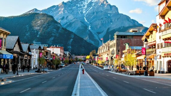 View of Main Street of Banff townsite in Banff National Park