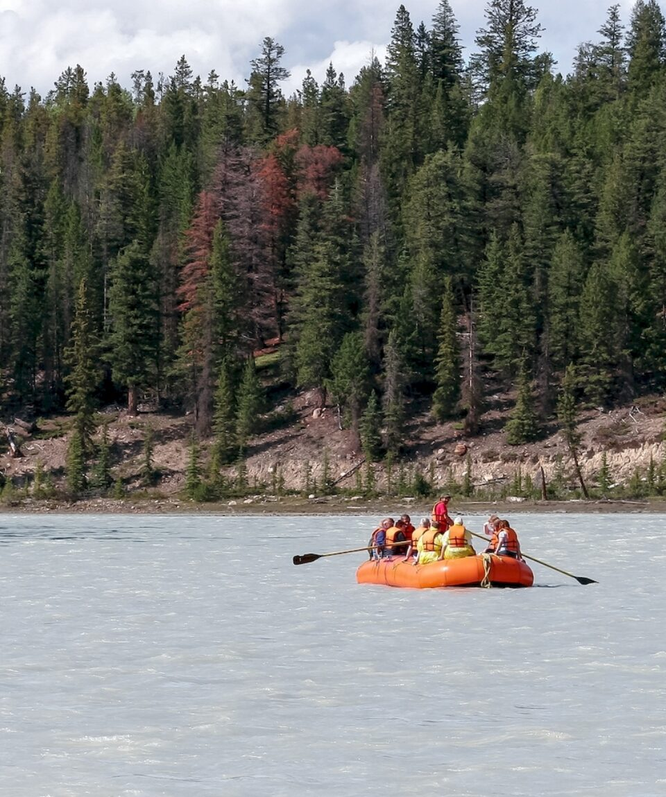 Whitewater rafting on the Athabasca river in Jasper, Alberta