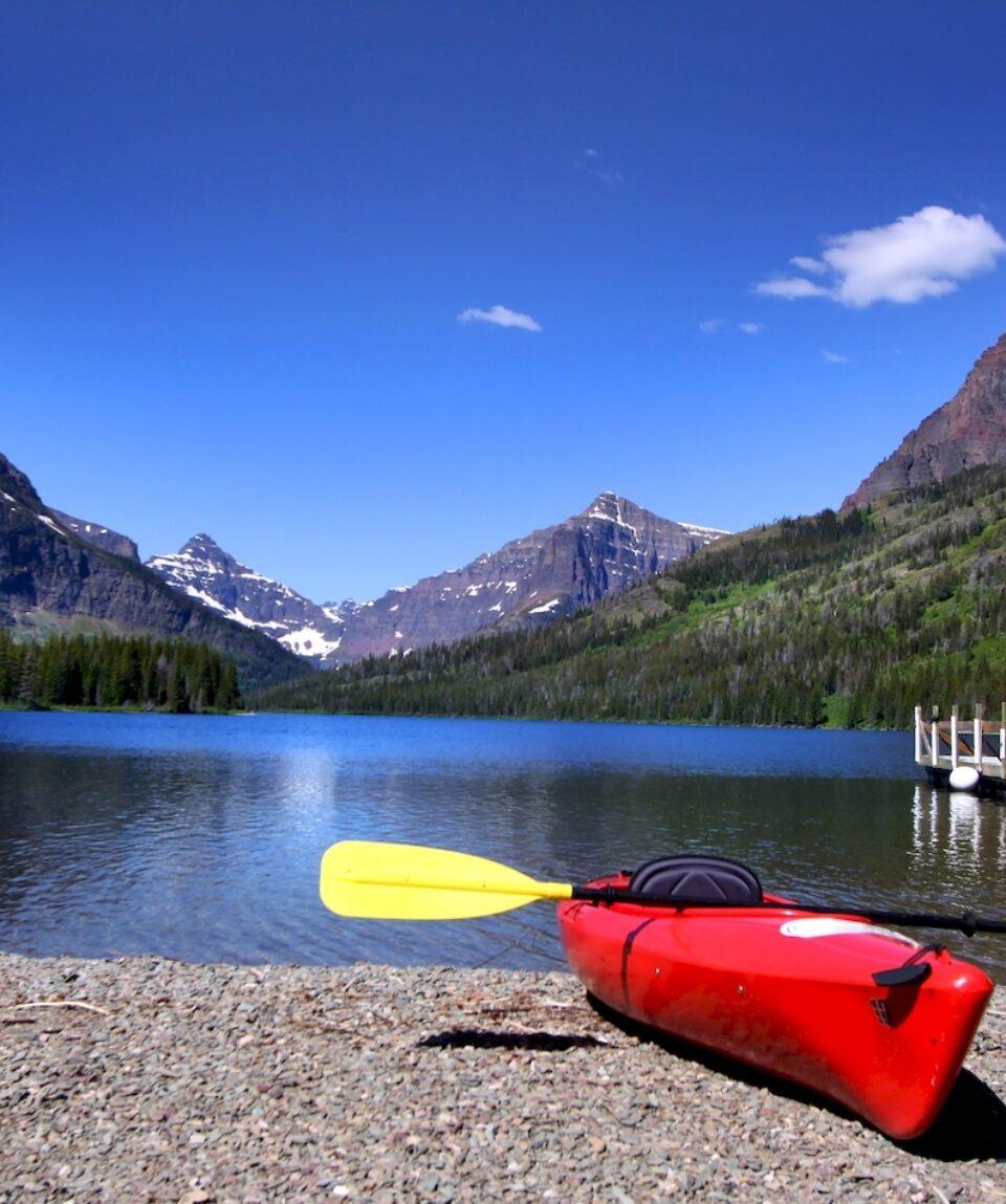Canoes at Two Medicines Lake