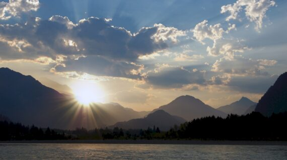 Sunrise over mountains and Fraser River near Hope
