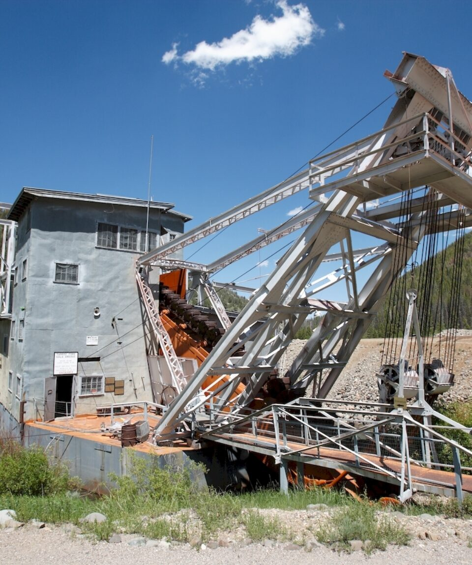 Yankee Fork Gold Dredge was used by miners near Bonanza in the 1940s. It now lies on display in Land of the Yankee Fork Historic Area