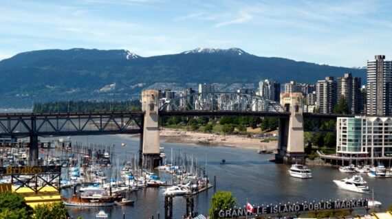 Granville Island and Burrard Street Bridge in Vancouver